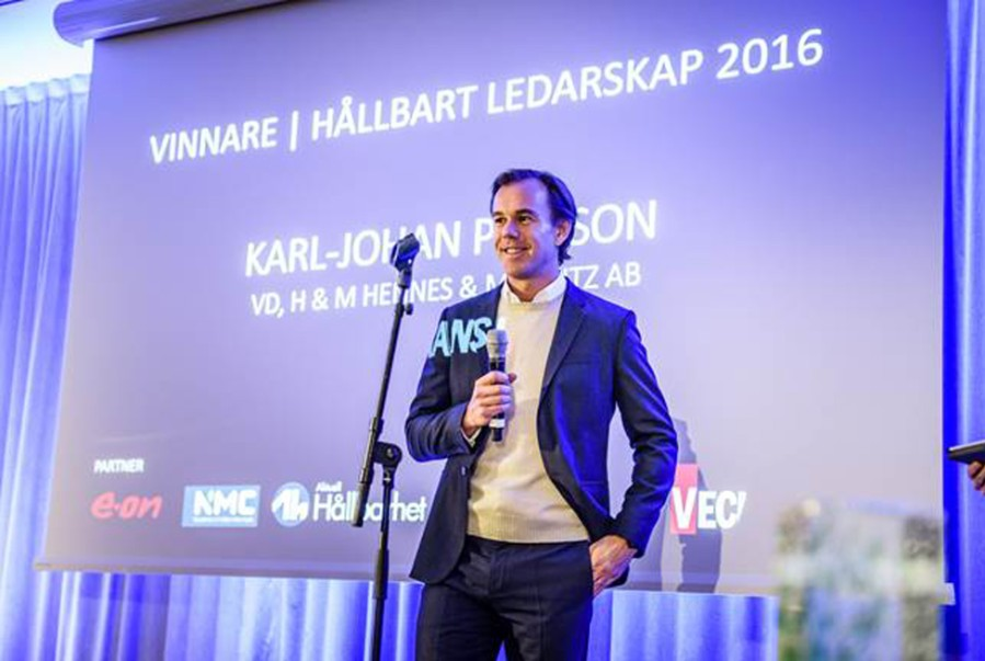 H&M CEO Karl-Johan Persson awarded Sustainable Leadership Award by NMC Nätverket för Hållbart Näringsliv