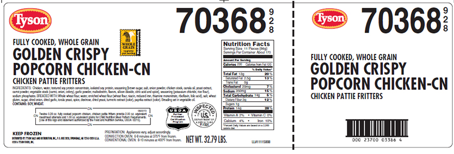 USDA's FSIS: Tyson Foods recallс approximately 1,148 pounds of frozen popcorn chicken products