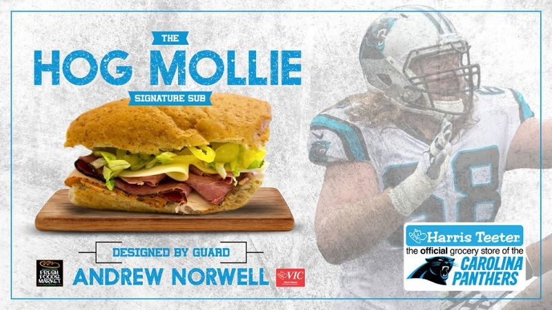 """Carolina Panthers' Andrew Norwell and Harris Teeter debut """"Hog Mollie"""" signature sub sandwich"""
