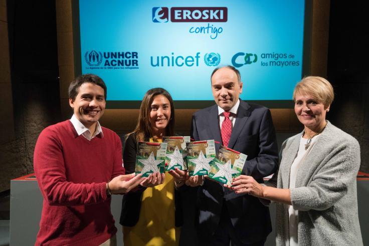 EROSKI lanza una campaña solidaria en colaboración con ACNUR, Amigos de los Mayores y UNICEF