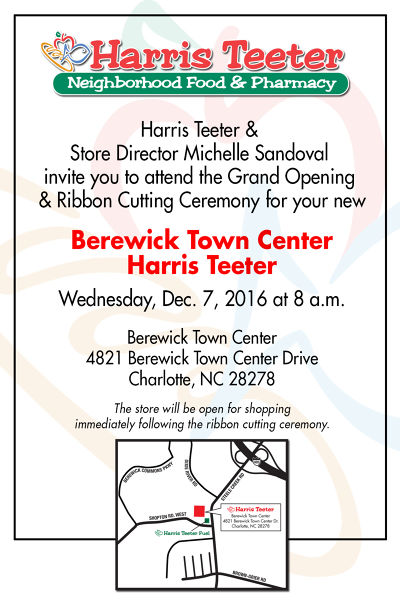 Harris Teeter to welcome shoppers to its Berewick Town Center location in Charlotte, NC on December 7, 2016