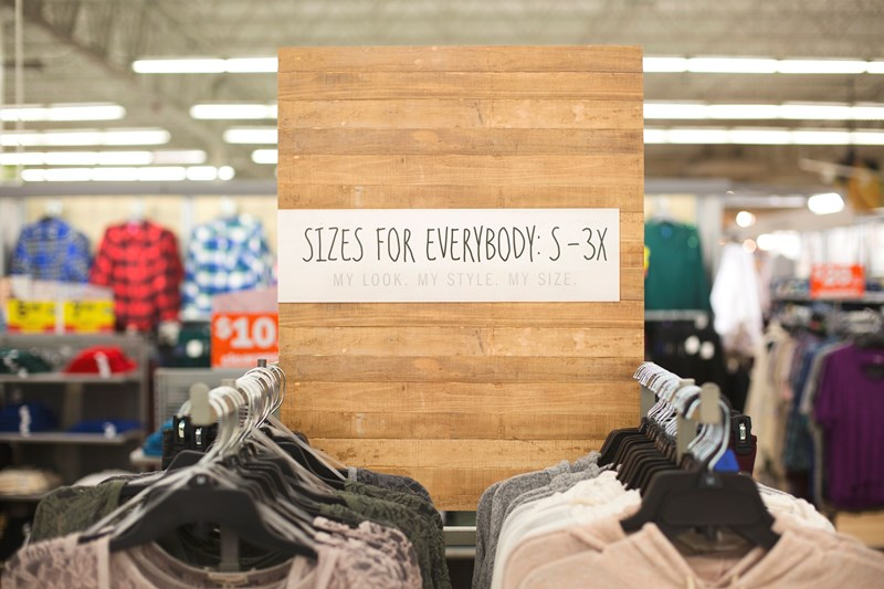 Meijer to place sizes S-3X apparel on the same rack giving customers of all sizes the opportunity to shop together