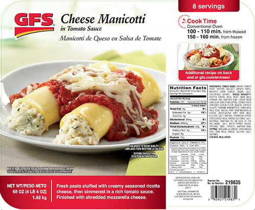 Request Foods recalls GFS® Cheese Manicotti that may contain egg allergen