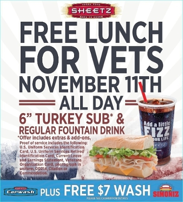 Sheetz invites all veterans and current servicemen and women to enjoy a free meal on Friday, Nov. 11