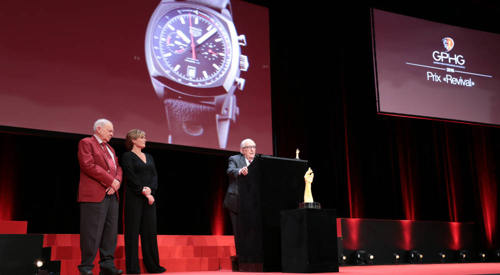 TAG Heuer wins award for its reissue of the iconic Heuer Monza chronograph at the Grand Prix d'Horlogerie in Geneva