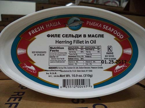 Royal Seafood Baza, Inc. recalls ready to eat herring products that may be contaminated with Listeria monocytogenes